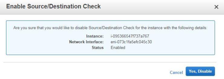 Disable Source Destination Check